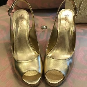 Lily Pulitzer Gold Wedges